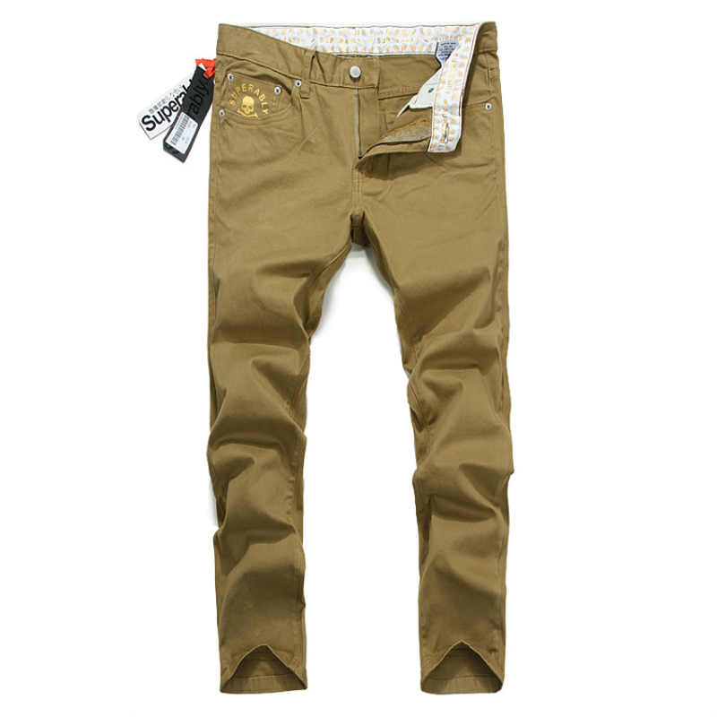 Fashion Street Men Jeans Casual Leisure Pants Golden Skulls Printing Pocket Straight Slim Fit Denim Trousers Cargo Pants Jeans