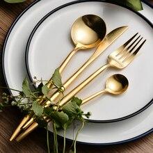 24 Pcs 304 Stainless Steel Golden Cutlery Set Luxury Restaurant Dinning Set Golden Dinnerware Tableware Knife Fork Desserspoon