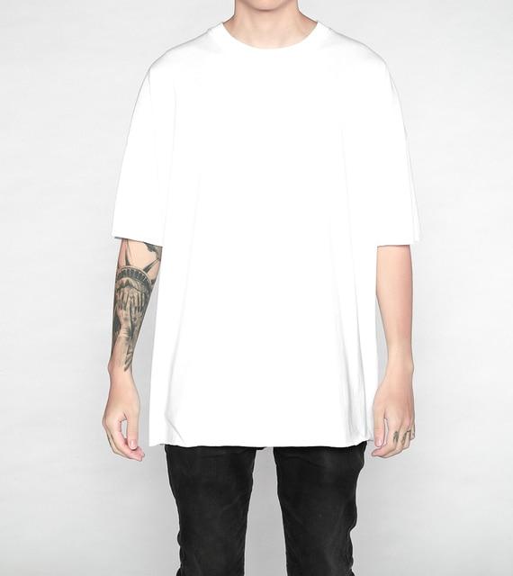 51f65bfc7d5c91 2017 classic plain men hiphop clothes short sleeve oversized extended 100%  cotton white t shirt 4color kpop streetwear