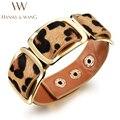 Leather Bracelet Retro Leopard Wide Leather Bracelets for Women Men Wristband Bracelets & Bangles Jewelry Pulseras Mujer BL35