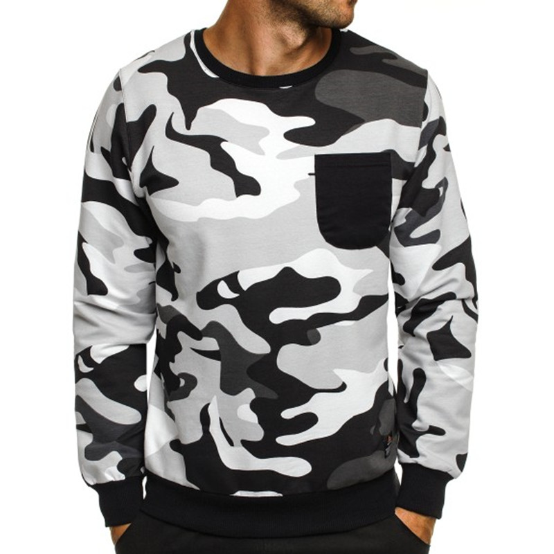 Military Camo Mens Hoodies Long Sleeve Casual Crew Neck Regular Fit 2018 Autumn Male Hooded Sweatshirts Pullover Tracksuits