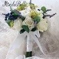 2016 Nuevas Damas de Honor Nupcial Flores Artificiales Ramos De Novia Blanco Hecho A Mano Se Levantó Accesorios Decoración de la Boda