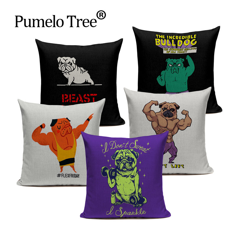 2017 Hot Sell Pug Dog Cushion Cover Sleep Dog Throw Pillow Cover Animal Cushion Cover for Sofa Decoratove Pillow Case Custom