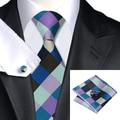 C-413 Plaids Compruebe Multicolor Lazos de Los Hombres 2015 Nueva Marca Lazos Pañuelo gemelos Set Jason & Vogue Corbatas Para Los Hombres a la Venta