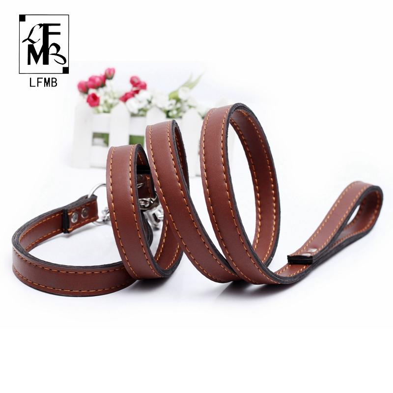[LFMB]Brand Leather Dog Leash Pet Dog Collar Military Grade Leather Pinch Collars For Dogs Show Lead Leashes Pets Products