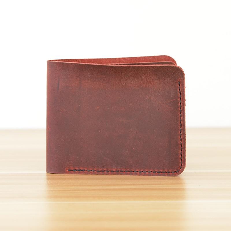 Red Brown Crazy Horse Mens Wallet Leather Genuine Handmade Men Wallet Vintage Leather Wallet Men Portfolio Man