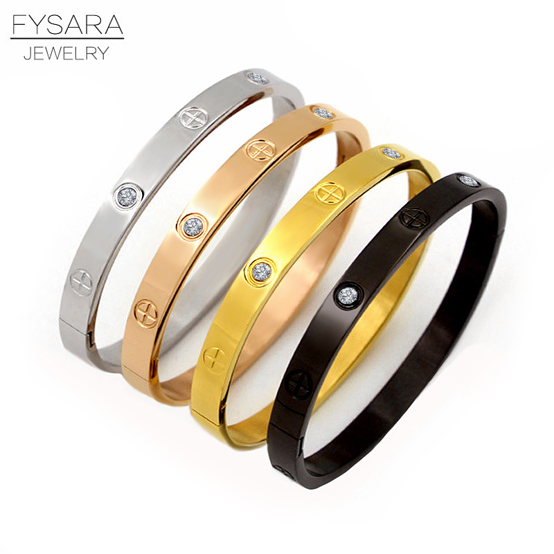 FYSARA Mode Bijoux Amant Couple Bracelet En Acier Inoxydable Or Couleur Croix Vis Bracelets et Bracelets Pour Hommes Femmes Bijoux