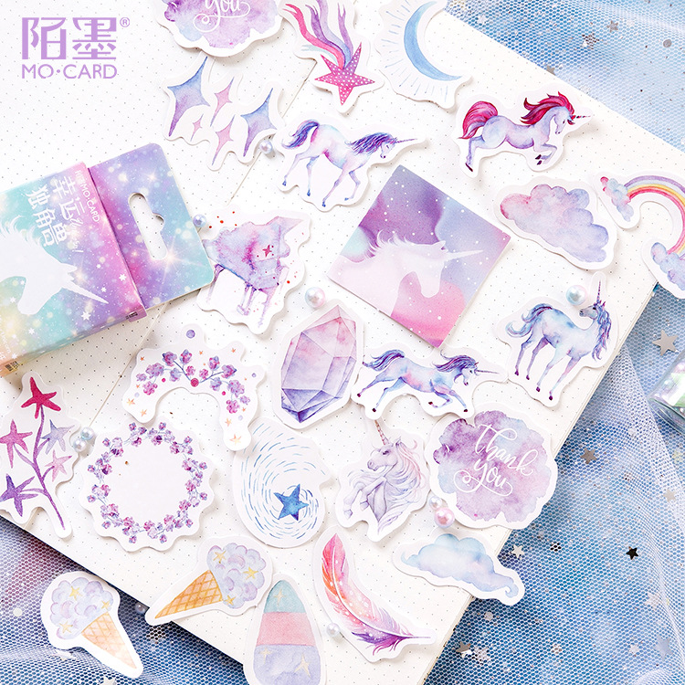 46 Pcs/pack Lucky Unicorn Box Bullet Journal Decorative Stickers Adhesive Stickers DIY Decoration Diary Stationery Stickers