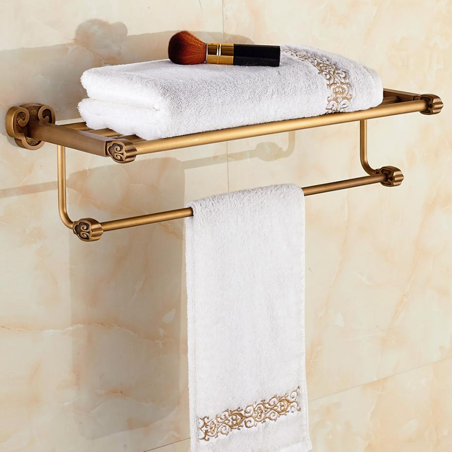 Bronze Bathroom Towel Rack Towel Bar Solid Brass Wall Mounted Towel Holder Shelf Bathroom Accessories X08 nail free foldable antique brass bath towel rack active bathroom towel holder double towel shelf with hooks bathroom accessories