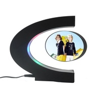 Creative C shape Electronic Magnetic Levitation Floating Globe Photo Frame Blue Light Birthday Wedding Gift Home Decor Frames