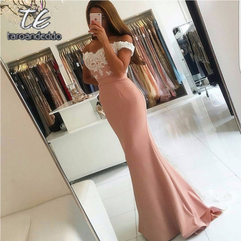 Sweetheart Off Shoulder Long   Prom     Dresses   Mermaid V Back Applique Evening Formal Party   Dress   with Back Buttons Vestido De Fiesta