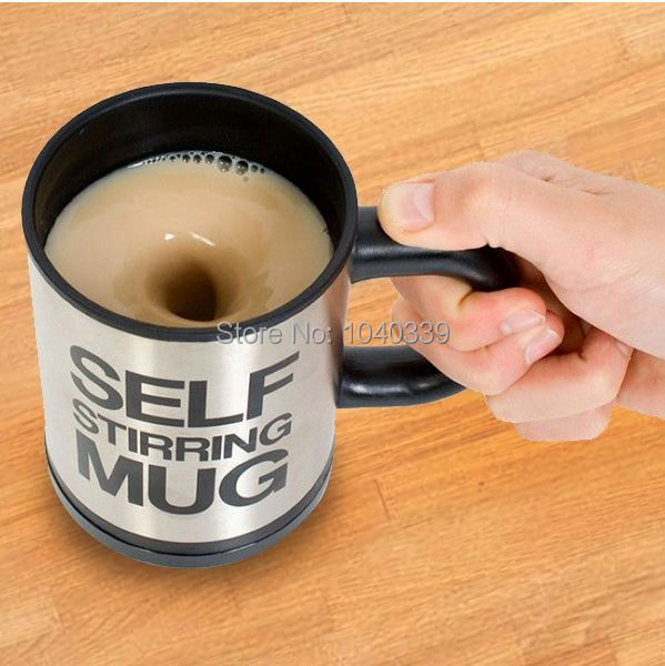 Hot free shipping Automatic coffee mixing cup/mug bluw stainless steel self stirring electic coffee mug 350ml