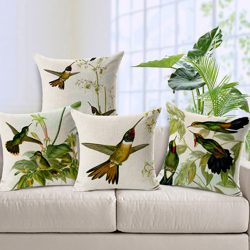 Wholesale and retail 18in*18in Cushion cover Hummingbird chart design linen/cotton decor ...
