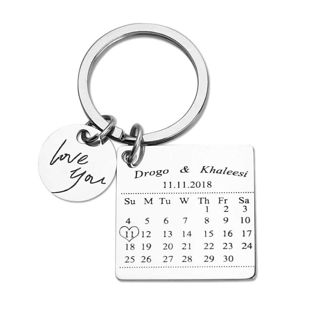 Custom Keychains Personalized KeyRings Engraved Name Key Chain Custom Calendar Keychain