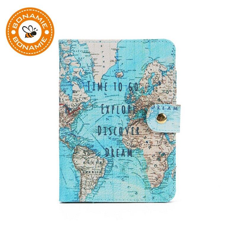 BONAMIE Lady Passport Holder Cute Travel Accessories Women Passport Covers Flamingo Map Men Cartoon PU Leather Credit Card Bag