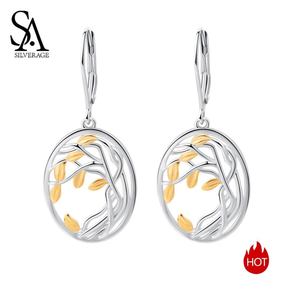 SA SILVERAGE 925 Mulheres Longas Brincos Cor de Ouro Amarelo Brincos de Prata 925 Esterlina Brincos de Prata Árvore da Vida para mulher