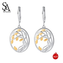 SA SILVERAGE 925 Silver Long Women Earrings Yellow Gold Color Brincos Sterling Tree of Life Drop for Woman