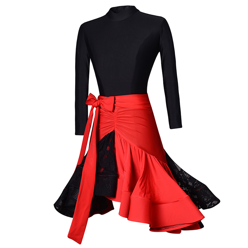 New Kids Dresses For Girls Black Vs Red Lace Dance Skirt Training Dance Costumes Stage Competition Children Dance Dress BL1687