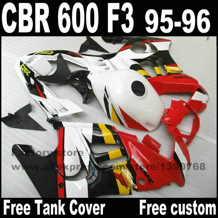 Motorcycle fairings set for HONDA CBR 600 F3 1995 1996 black white red cbr600 95 96 plastic fairing kit CN35