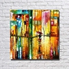 Gold Color Street Scenery Landscape Canvas Wall Paintings Nice Paintings For Living Room Wall Decor