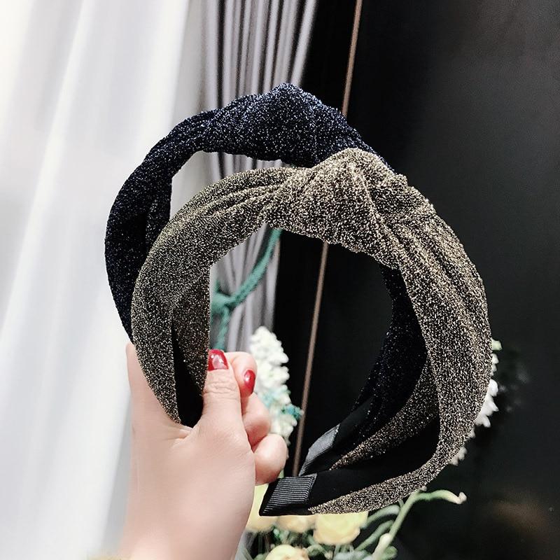 Женская Блестящая повязка на голову Haimeikang, блестящая повязка на голову с блестками, повязка на голову с перекрестным узлом, аксессуары для в...