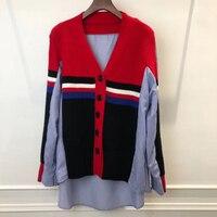 Креативный рисунок свитер тонкий срез поддельные из двух частей свободная футболка рубашка женщин Vogue Винтаж t рубашка