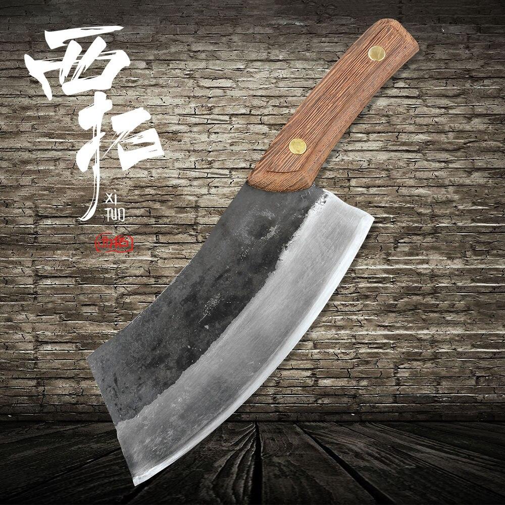 Couteau de cuisine fait main XITUO coupe viande plat couteau chef haute dureté en acier au manganèse lame de forgeage en acier composite