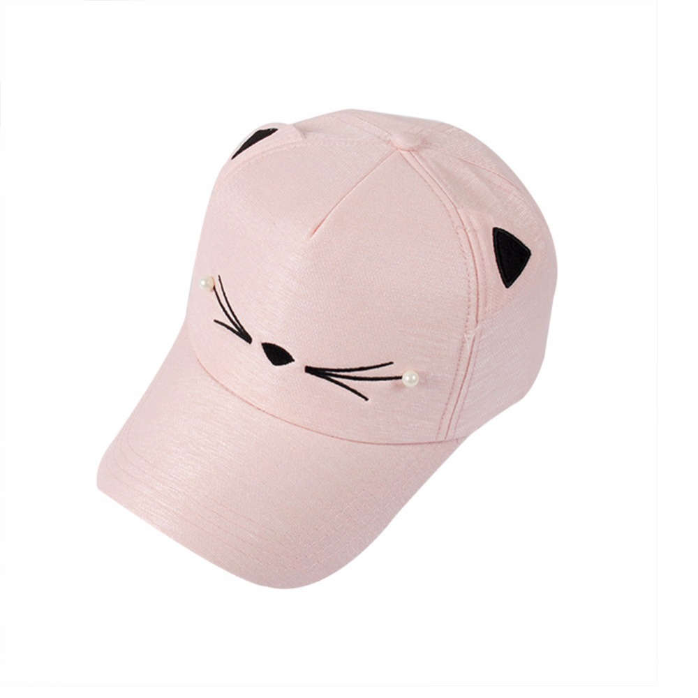 New Fashion Baseball Cap Hat Embroidery Snapback Hat Cat Ears Baseball Cap Lovely Pearl For Women Girls Baseball Hat Adjustable anime pocket monster flareon cosplay cap orange cartoon pikachu ladies dress pokemon go hat charm costume props baseball cap