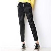 נשים הדפסת פסים שחורים Streetwear אופנה מכנסי הרמון מזדמן מכנסיים כיס שרוך מותניים אלסטי למתוח הרלן מכנסיים