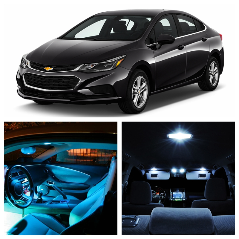 9pcs white ice blue led light bulbs for 2016 2017 chevy chevrolet cruze interior package kit. Black Bedroom Furniture Sets. Home Design Ideas