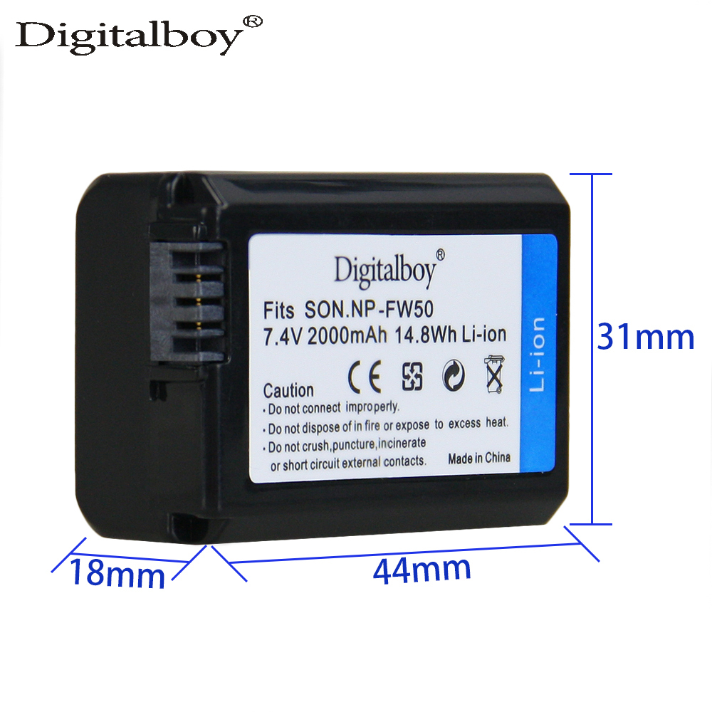 Digitalboy 1Pcs 2000mAh NP-FW50 NP FW50 Rechargeable Battery for Sony Alpha a6500 a6300 a7 7R a7R a7R II a7II NEX-3 NEX-3N NEX-5