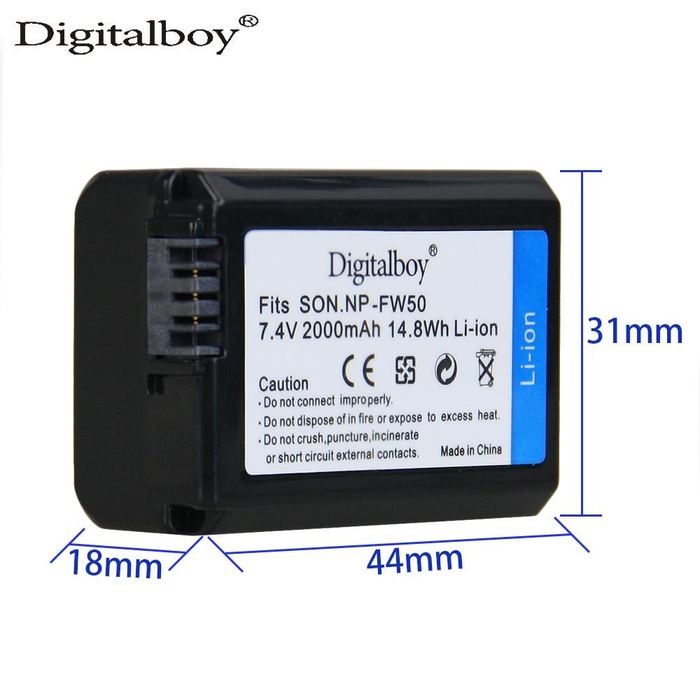 Digitalboy 1 Pcs 2000 mAh NP-FW50 NP FW50 Batterie Rechargeable pour Sony Alpha a6500 a6300 a7 7R a7R a7R II a7II NEX-3 NEX-3N NEX-5