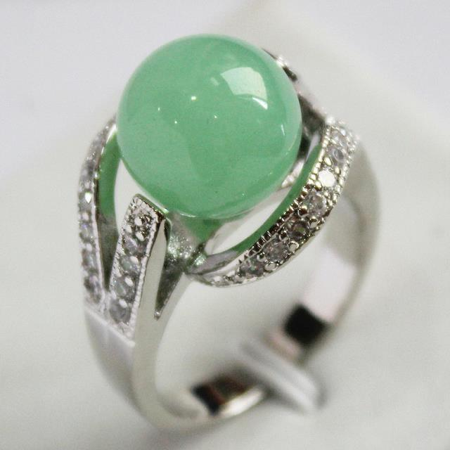 lady's new design jewelry silver plated with crystal decorated &12mm light green  jades ring(#7.8.9)
