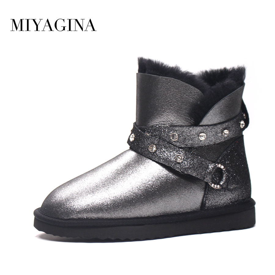 Top Quality New Fashion Genuine Sheepskin Leather Snow Boots for Women Winter Real Wool Botas Mujer Natural Fur Warm Ankle Shoes 2016 rhinestone sheepskin women snow boots with fur flat platform ankle winter boots ladies australia boots bottine femme botas