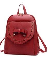 Мода повседневная школа девушки рюкзак мило лук и выдалбливают студент опрятный стиль высокое качество сумки на ремне, новая коллекция