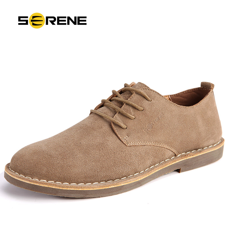 SERENE Band 2018 Men Shoes Plus Size 38~46 Suede Leather Increased High Men Lace-up Casual Loafers Business Desert Shoe 5 Colors