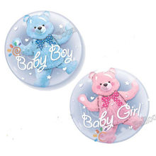 New Baby Boy Blue Bear Double Bubble Balloon Boy Toys For Kids gift Birthday Party Decorations(China)