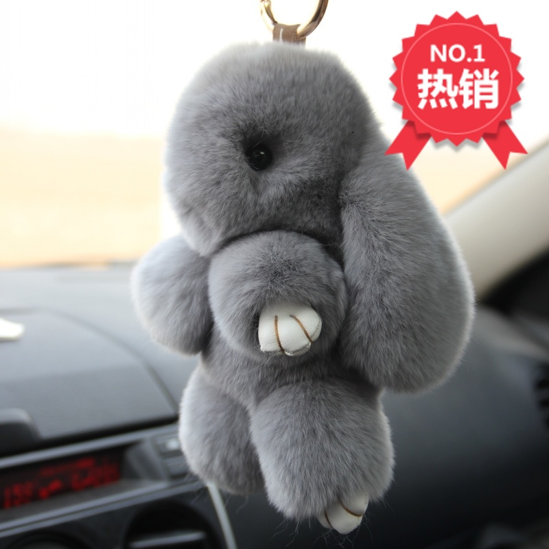 Rex Rabbit Fur keychain Cute Rabbit Doll Key Chain Pendant White Pink Orange Wallet Pom Pom
