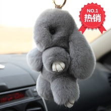 Rex Rabbit Fur keychain Cute Rabbit Doll Key Chain Pendant White Pink Orange Wallet Pom Pom