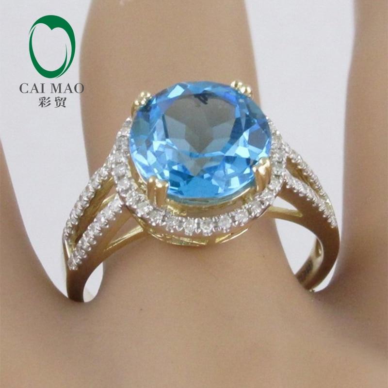 4.60ct!! Réglage de la topaze et de la bague en diamant bleu or jaune 14ct, bague 14 K, livraison gratuite