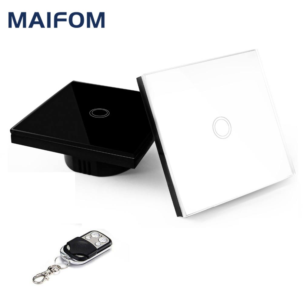 MAIFOM EU Standard Smart Wall Switch RF433 Remote Control Touch Switch 1 Gang 1 Way Wireless Light Switch for Home and Hotel funry eu 2 gang 1 way wall switch rf remote control light switch waterproof crystal tempered glass touch switch for smart home