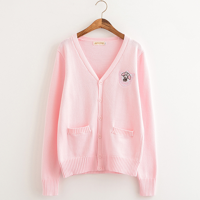 Cartoon embroidery Big ear dog Cherry pink/Almond/Water Blue Soft Knitted cotton sweater long-sleeved cardigan uniform cos JK 3