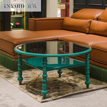 Inyard modern Nordic  metal/glass picnic camping dining Roman round table coffee table
