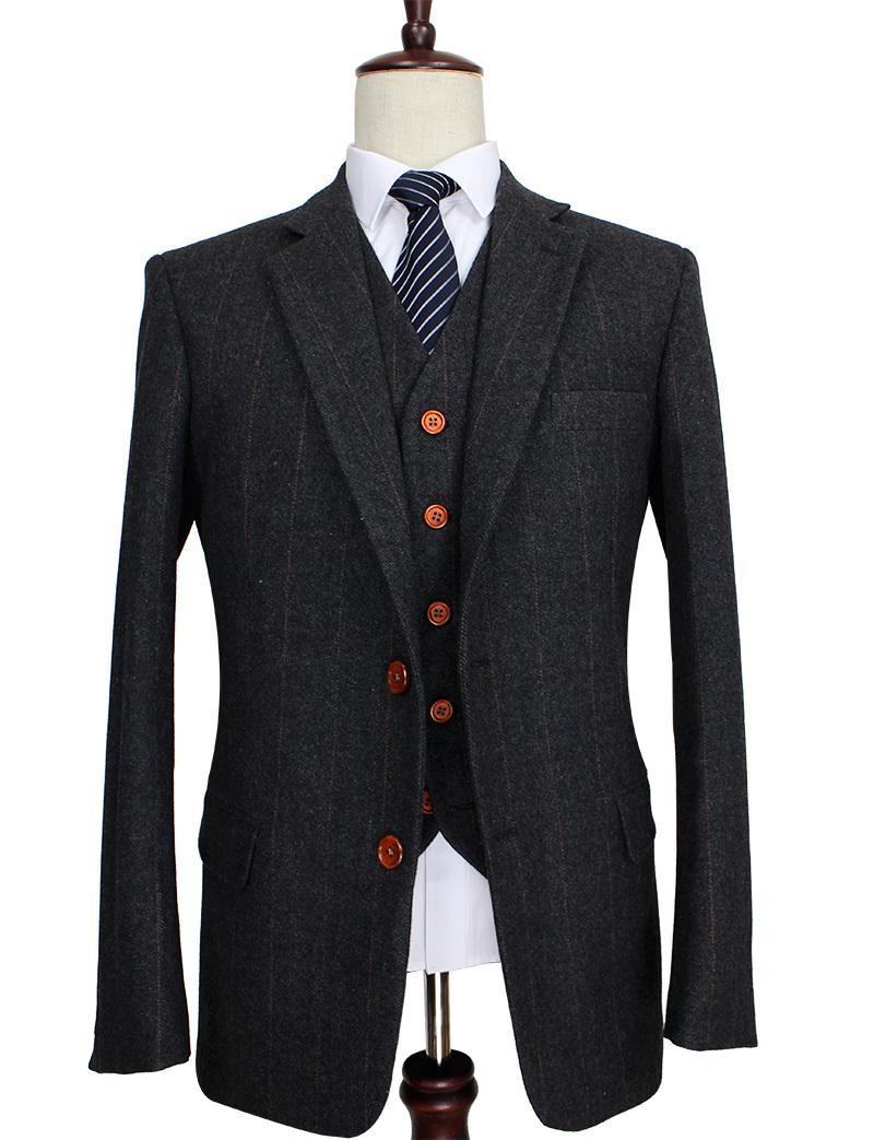 Wool-Dark-Grey-Herringbone-Tweed-tailor-slim-fit-wedding-suits-for-men-Retro-gentleman-style-custom