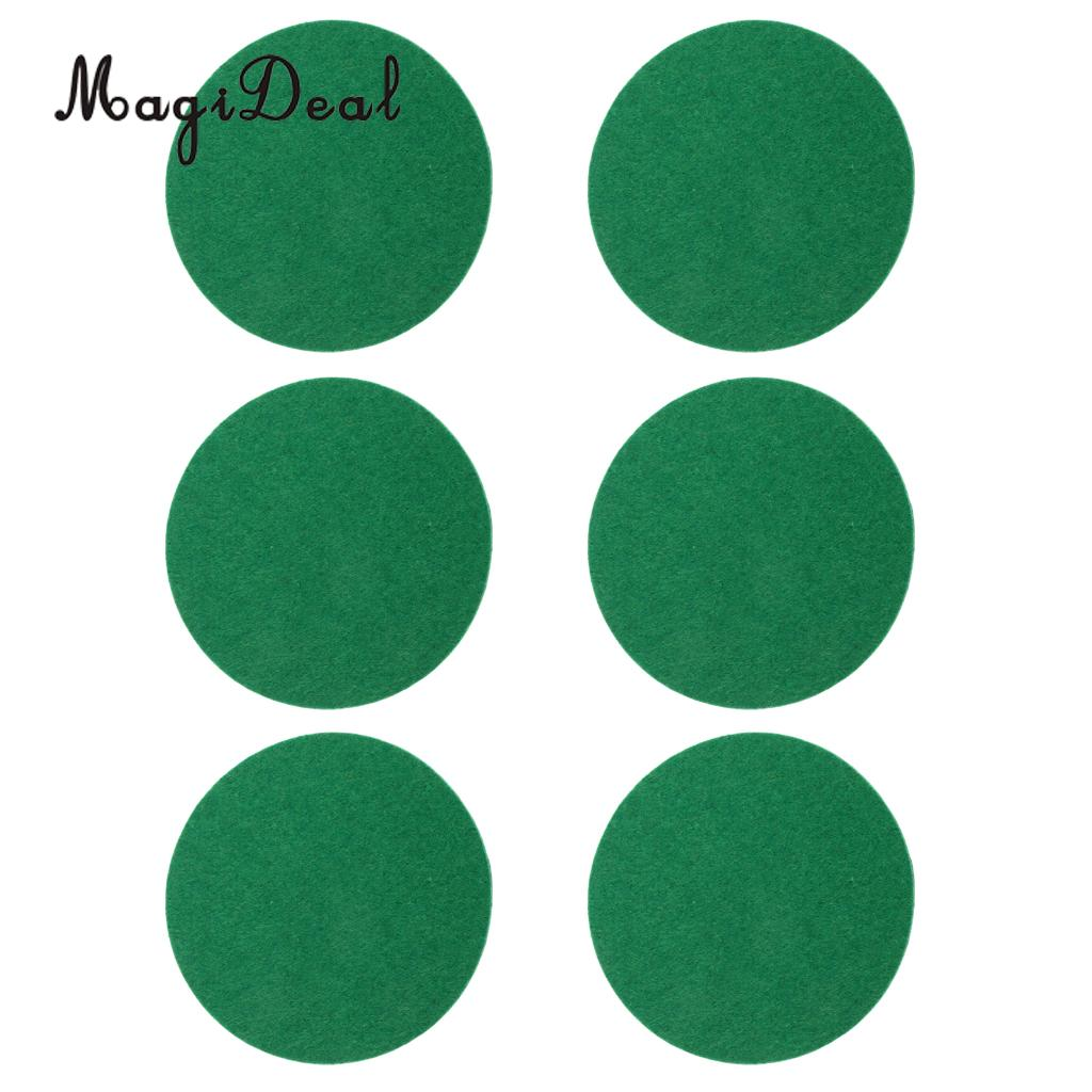 MagiDeal 6 Pieces Air Hockey Table Felt Pushers Replacement Felt Pads Green 94mm