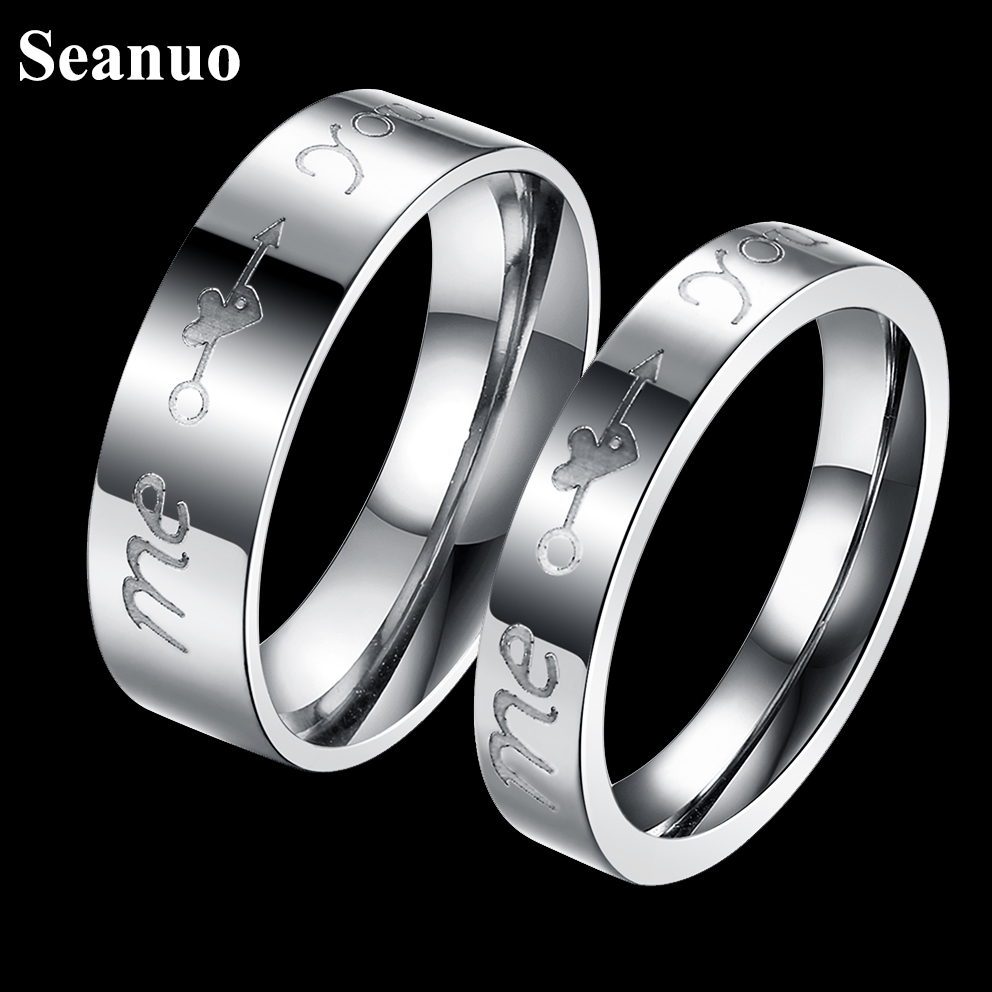 seanuo unique cupids arrow stainless steel valentines day couple ring fashion infinity love wedding engagement women men rings - Mens Wedding Rings Unique