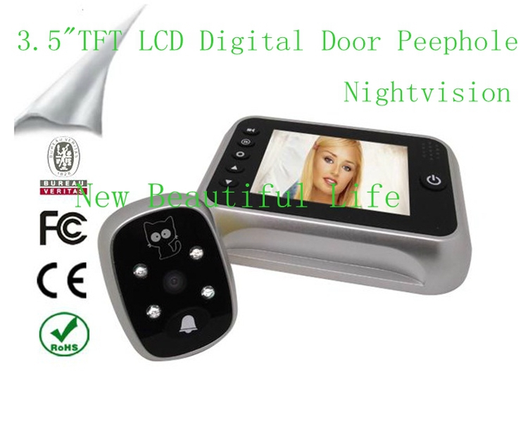 3.5 TFT LCD Color Screen Door Bell Viewer Digital Peephole Home Security Camera Take Photo Video Record Wide Angle Night Vision kaaral стойкий безаммиачный краситель 8 светлый блондин kaaral baco soft ammonia free af8 60 мл