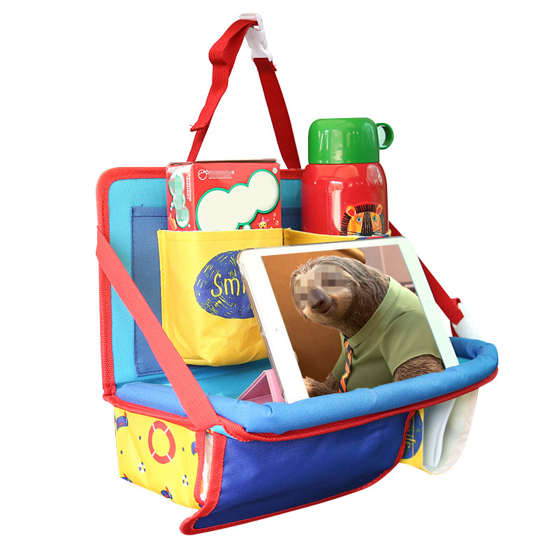 Multifunction Foldable Colorful Car Auto Organizer Seatback Storage Bag Cartoon Baby Child Food Drinking Table Stowing Tidying