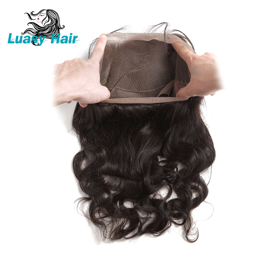 Luasy Brazilian Body Wave Hair 360 Lace Frontal Closure With Baby Hair 100 Remy Human Hair