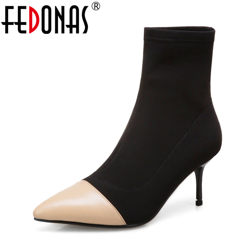 FEDONAS Brand Women Ankle Boots High Heels Socks Boots New Pointed Toe Party Dancing Shoes Woman Office Pumps Stretch BootsFEDONAS Brand Women Ankle Boots High Heels Socks Boots New Pointed Toe Party Dancing Shoes Woman Office Pumps Stretch Boots